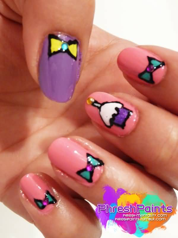 Amazing Ice Cream And Bow Birthday Nail Art