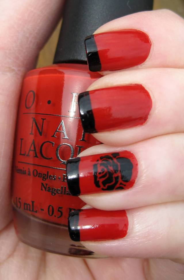 Amazing Red And Black Nails With Rose Flower