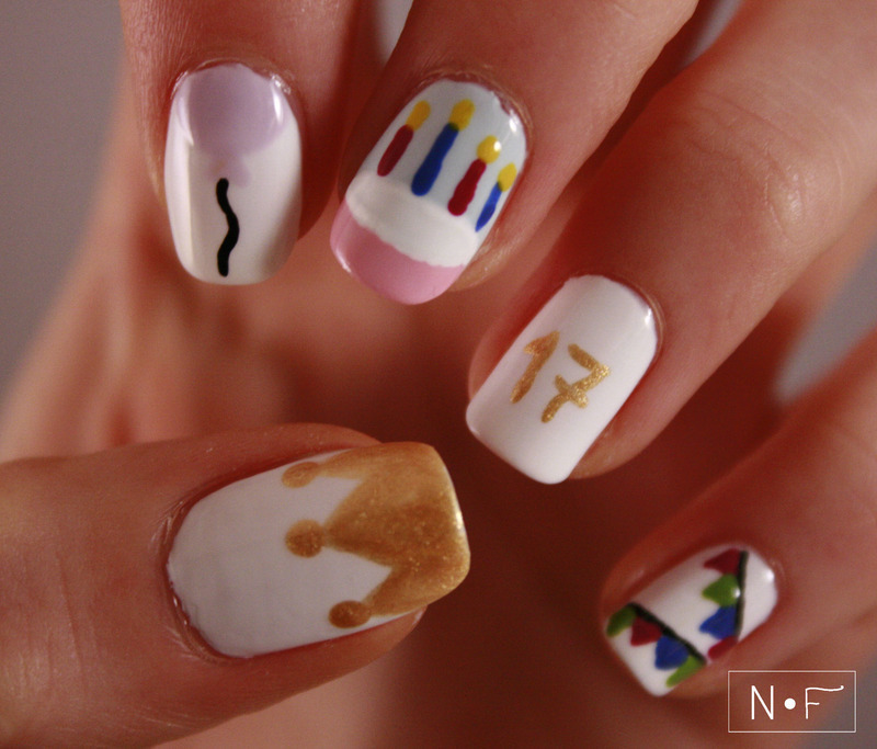 Amazing White Color And Crown Birthday Nails
