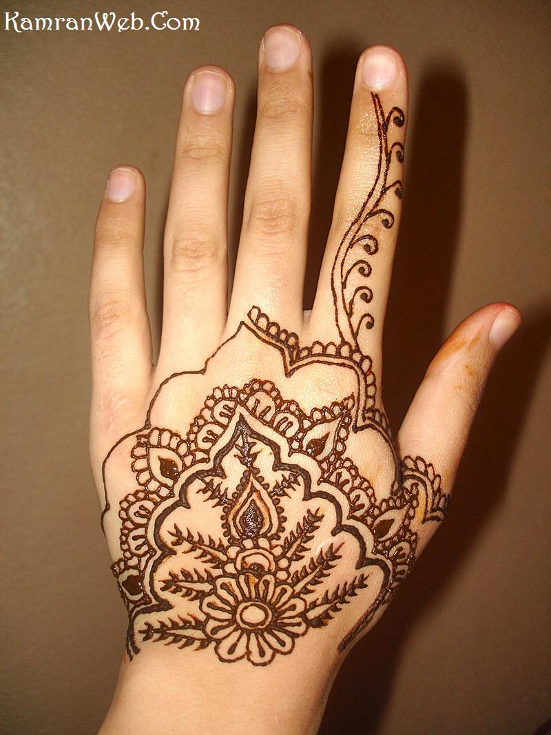 Attractive Henna Tattoo On Left Hand For Girls