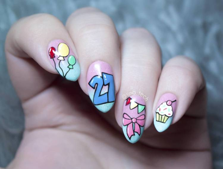 Awesome Age Year With Balloons Birthday Nail Art