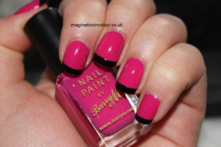 Awesome Black And Pink Nails With Black Tip