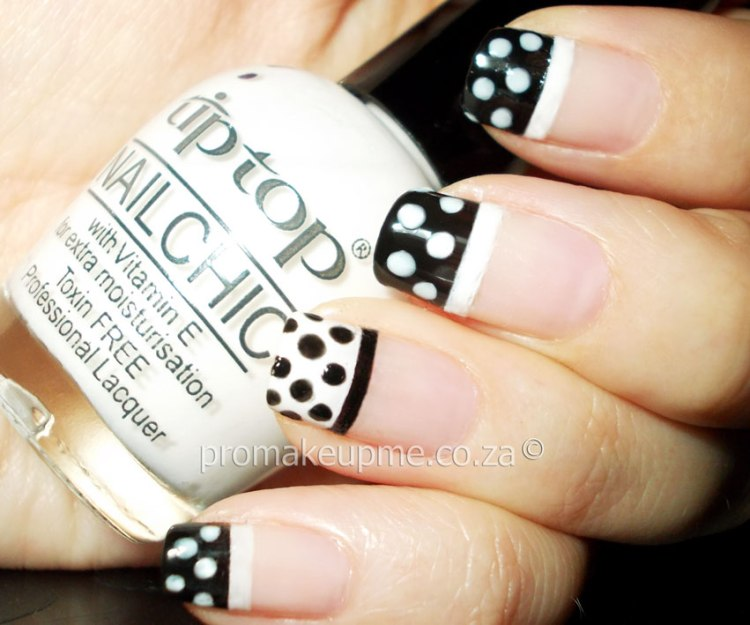 Awesome Black And White Polka Dot Nail Art Only On Tips