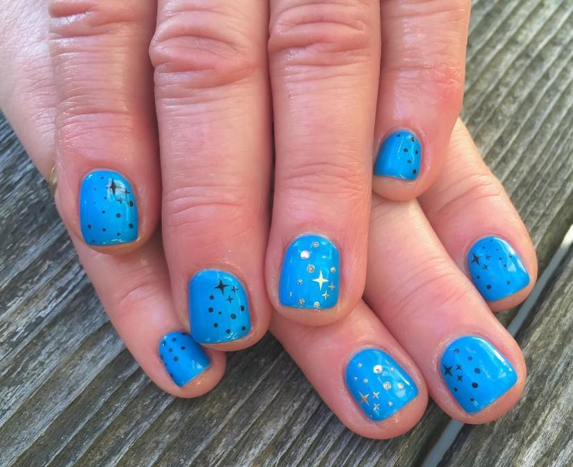 Awesome Blue Color Paint With Stars Acrylic Short Nail Design