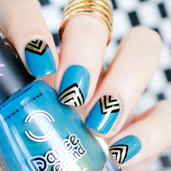 Awesome Blue Nails With Golden V Shape Design