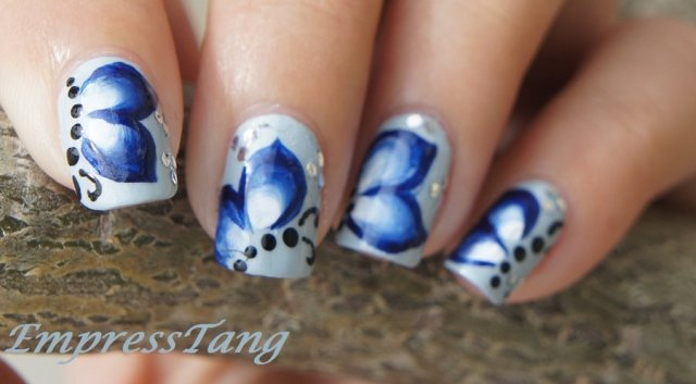 Awesome Butterfly Nail With Feather Design (2)