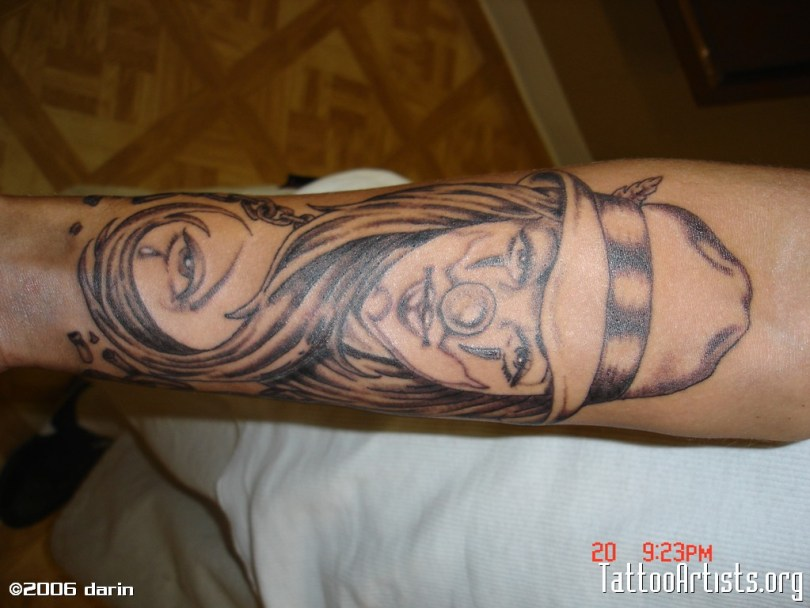 Awesome Clown Girl Tattoo On Arm For Boys