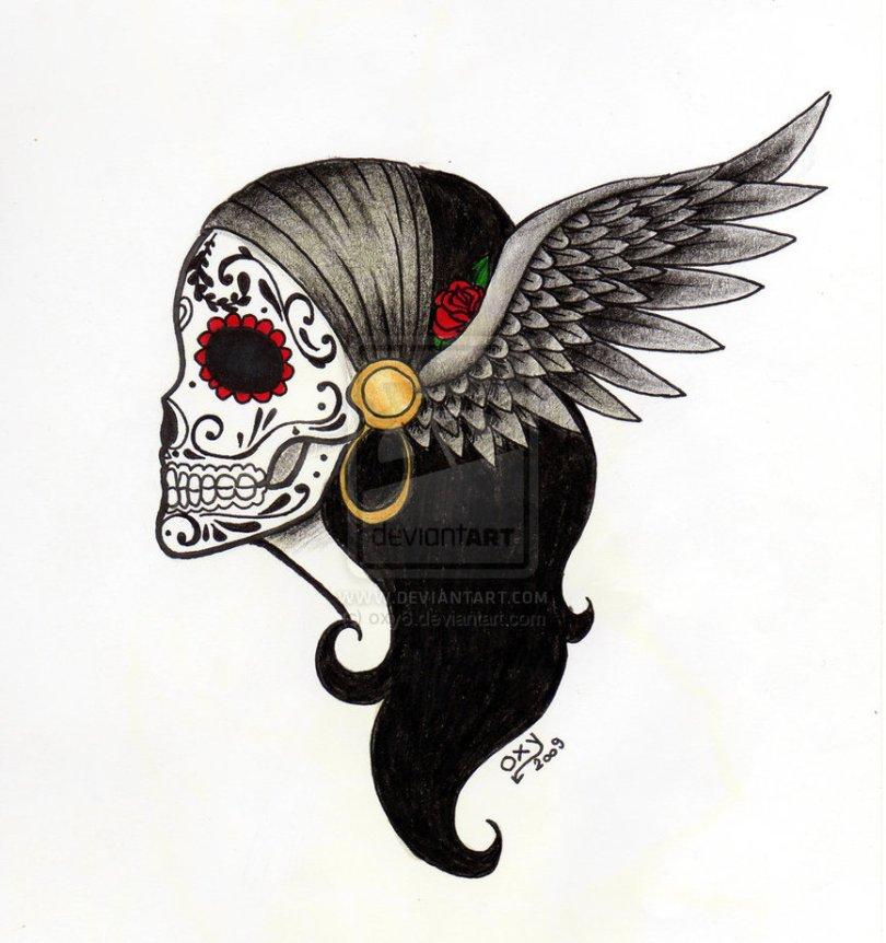 Awesome Dia De Los Muertos Angel Tattoo Design For Boys