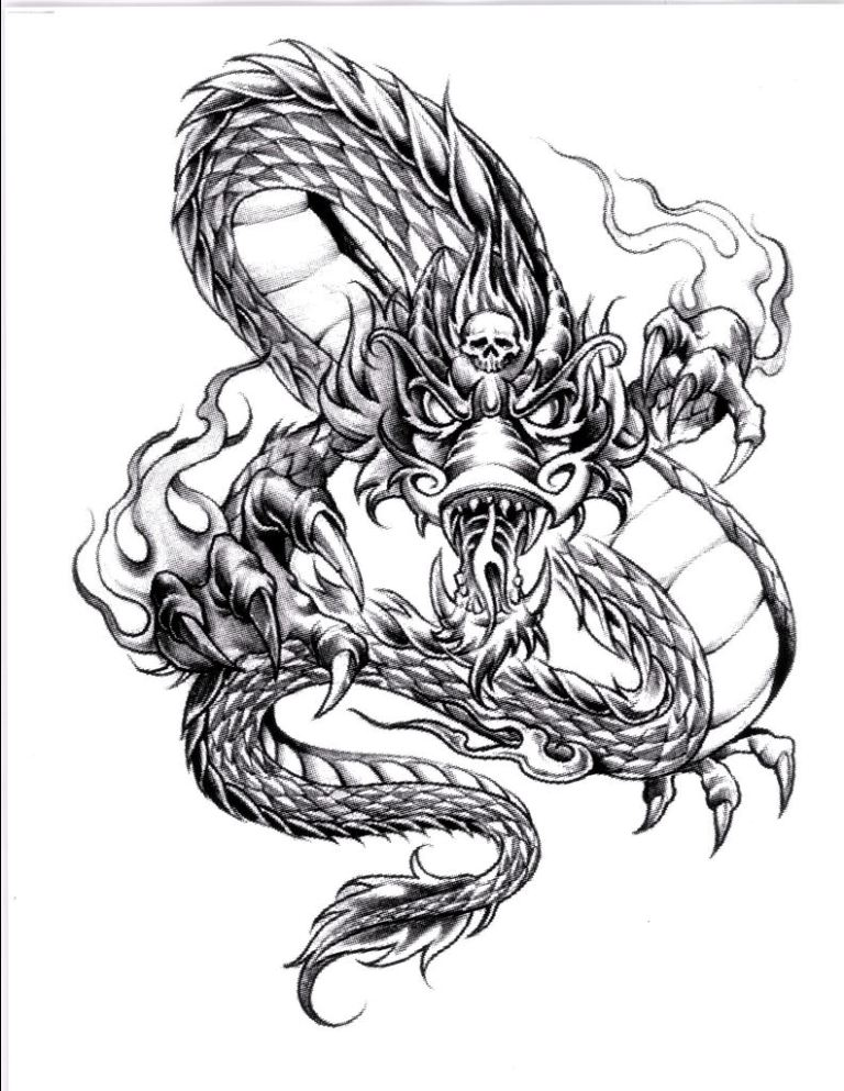 Awesome Dragon Tattoo Design For Girls