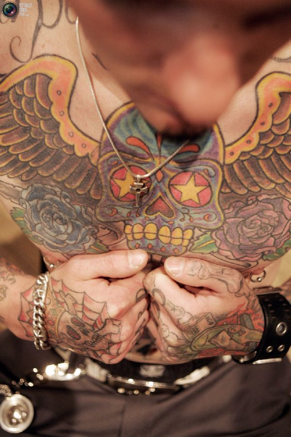 Awesome Extreme Sugar Skull Tattoo On Chest For Boys