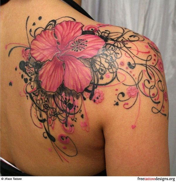 Awesome Feminine Pink Flower Tattoo On Back Of Shoulder For Girls
