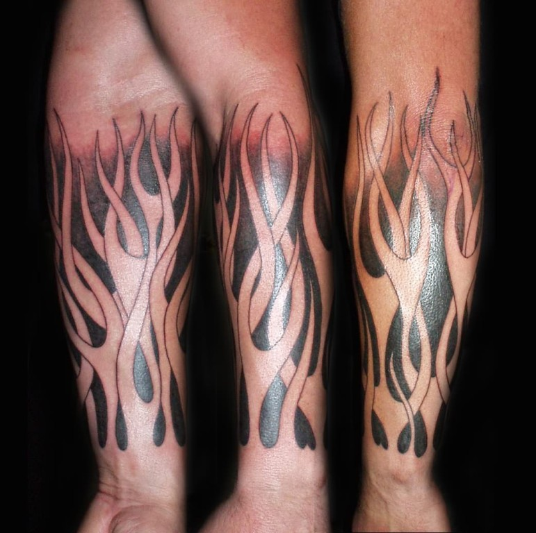 Awesome Flames From Arm Tattoo Design For Boys