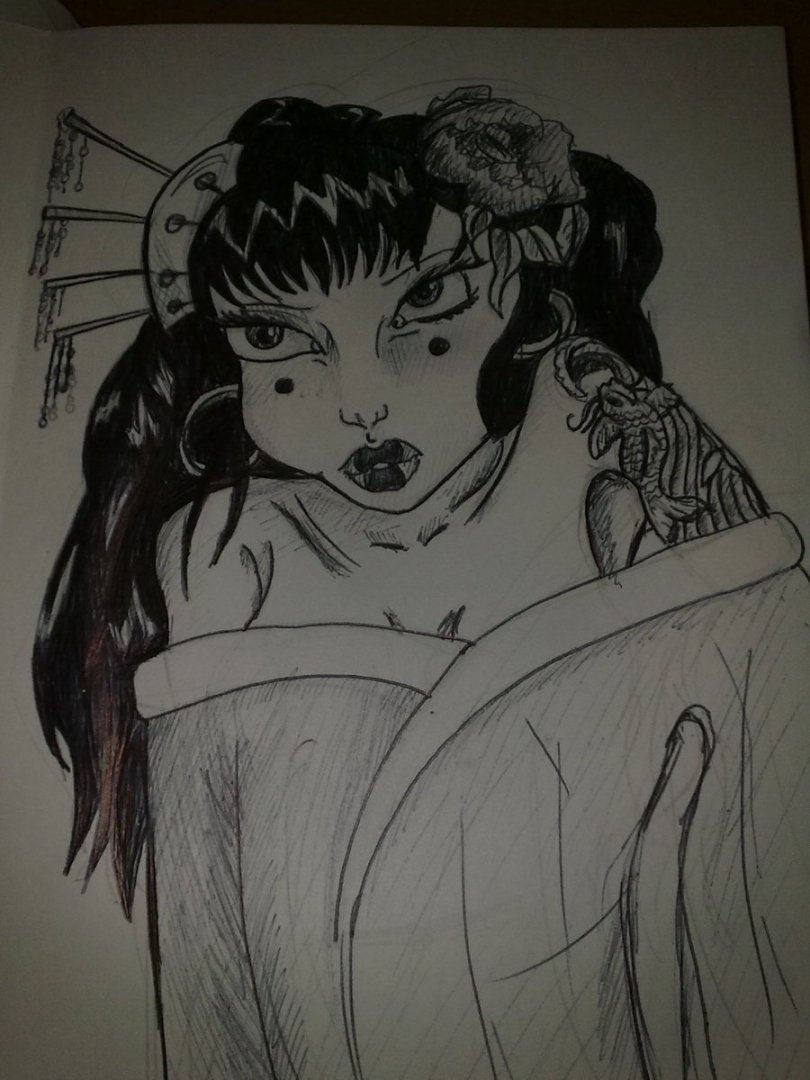 Awesome Geisha Girl Tattoo Sketch For Girls