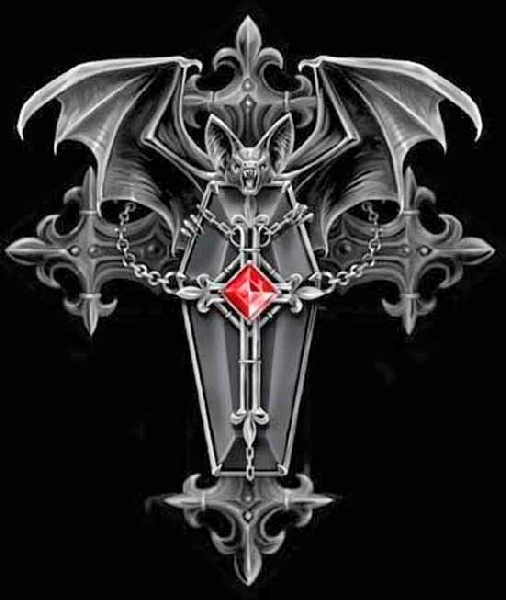 Awesome Gothic Cross Tattoo Over Black Background For Boys
