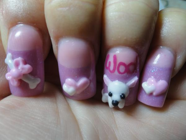 Awesome Pink With Toffee And Bone With 3D Dog 3D Rose Flower Nail Art