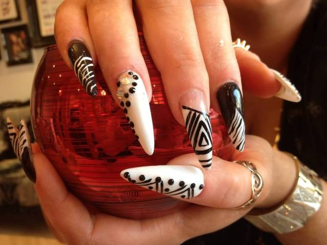 Awesome Stiletto Nails With Home Made Design