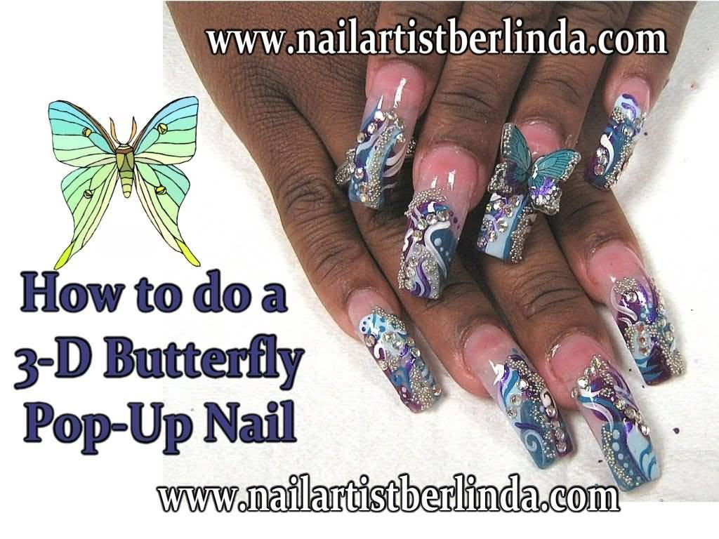Beautiful 3D Butterflies Nail Art With Blue Color Butterfly
