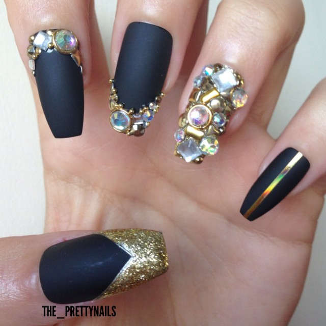 Beautiful Black Matte Nails With Diamond Design
