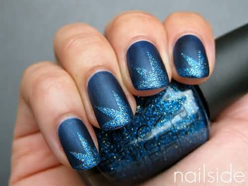 Beautiful Blue Nail With Star Type Design