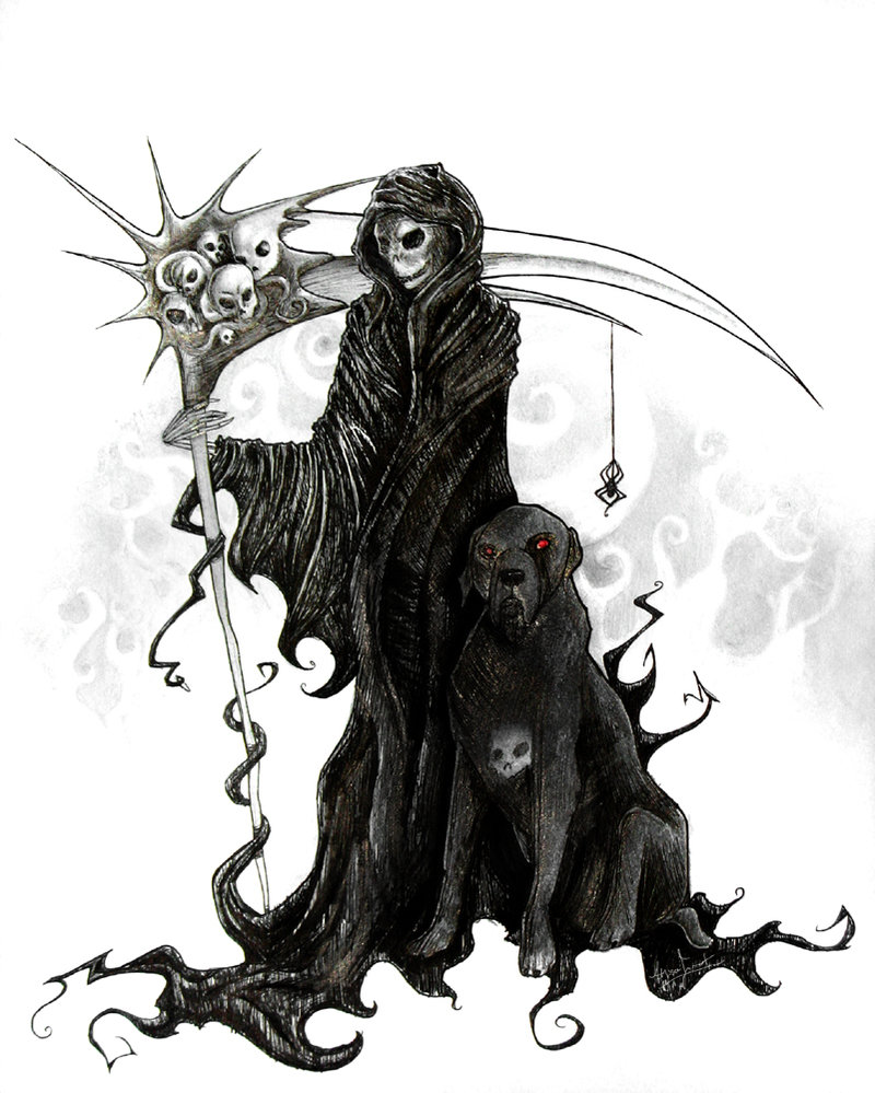 Beautiful Grim Reaper n Black Dog Tattoo Design For Boys
