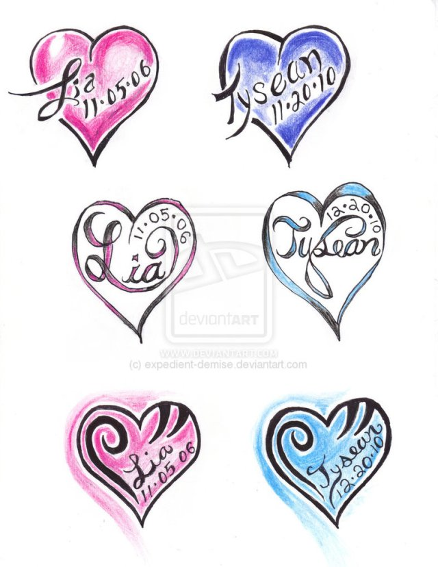 Beautiful Heart Names Tattoo Design For Boys