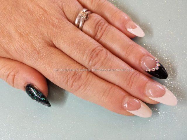 Beautiful Natural Nail With Black Color Almond Shaped Acrylic Nail Art