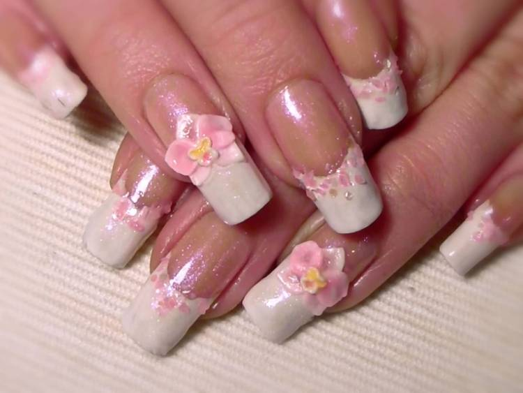 Beautiful Pink Flower And Pink Rose 3D Rose Flower Nail Art