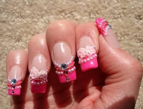 Beautiful Pink Tips 3D Acrylic Nail Art