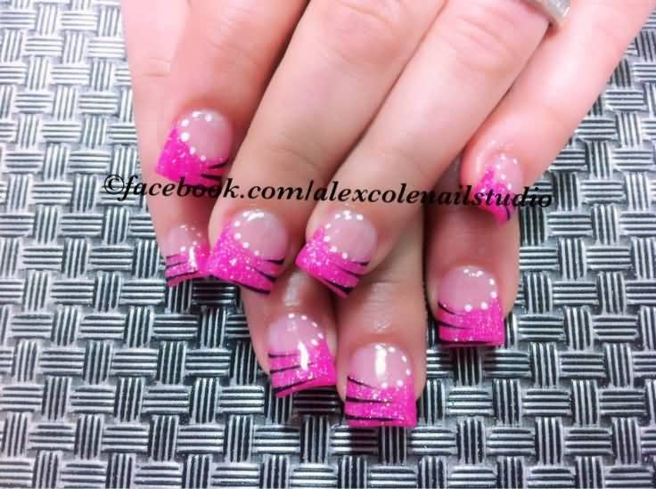 Beautiful Pink Tips With White dots Pink Acrylic Nail Art Design - 63 Incredible Pink Acrylic Nail Designs And Styles Picsmine