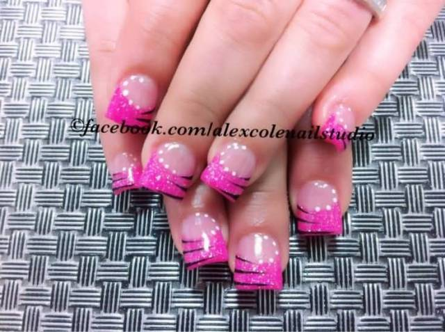 Beautiful Pink Tips With White dots Pink Acrylic Nail Art Design
