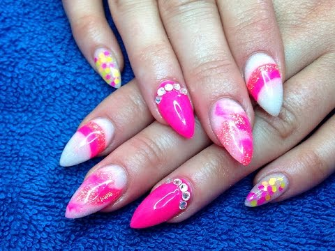 Beautiful Pink color With Stones Almond Shaped Acrylic Nail Art