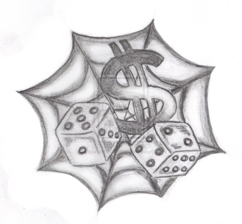 Beautiful Spider Web n Dice Tattoo Design For Girls