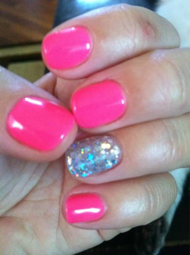 Best Baby Pink With Silver Glitter Accent Nail Art
