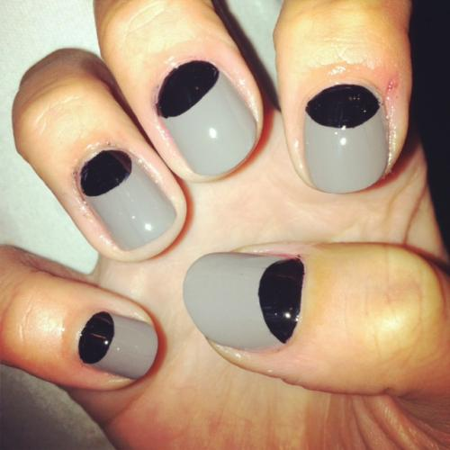 Best Black Half Moon Nail With grey Nails
