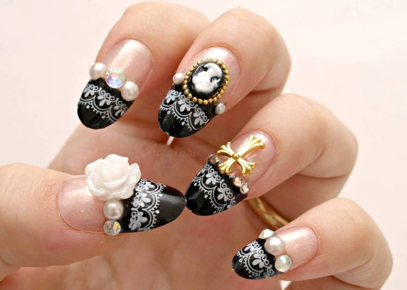 Best Black Tips With Nail Paint With Golden Cross 3D Nail Art