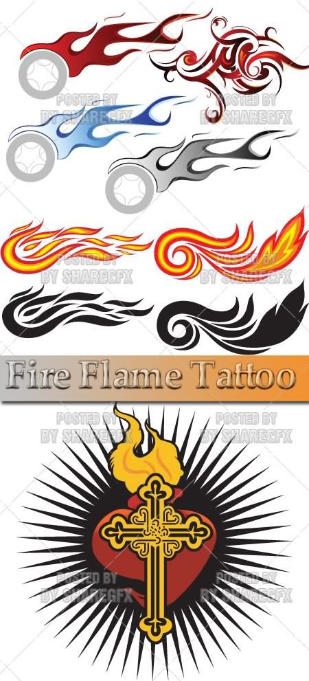 Best Ever Cross Fire n Flames Tattoo Design For Boys