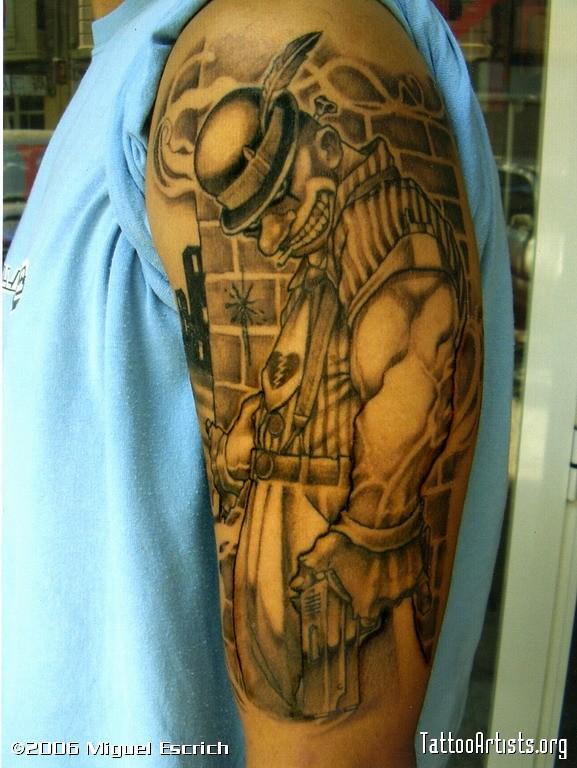 Best Ever Half Sleeve Gangsta Clown Tattoo For Boys