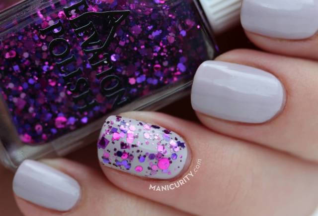 Best Ever White With purple Glitter Accent Nail Art