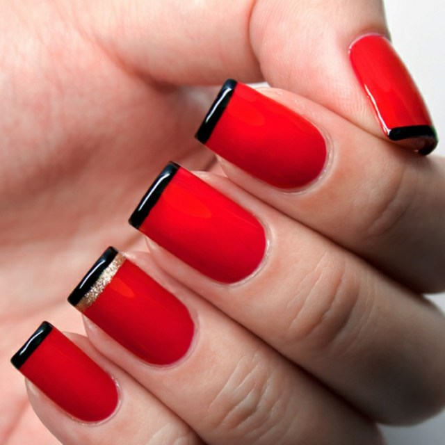 Best Red And Black Nails With Black Color Tip