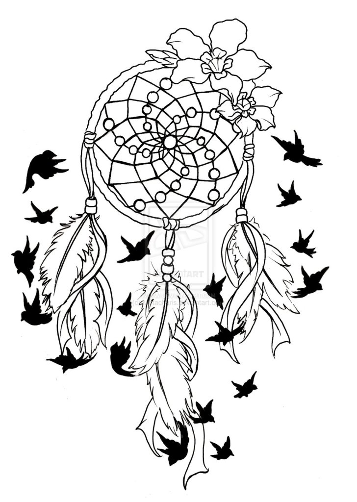 Brilliant Dream Catcher Birds Of A Feather Tattoo Design For Boys