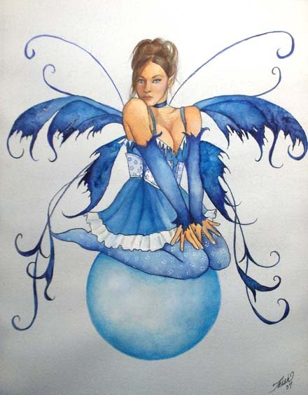 Brilliant Fairy In Blue Dress Tattoo Design For Girls