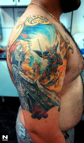 Brilliant Fantasy Medieval Tattoo On Shoulder For Boys