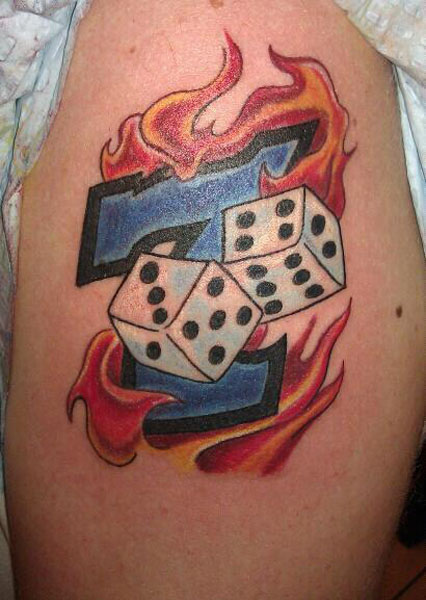 Brilliant Lucky 7 Dice Tattoo For Girls