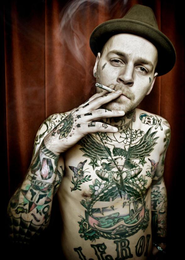 Brilliant Smoking Gangsta With Full Body Tattoo Design For Boys