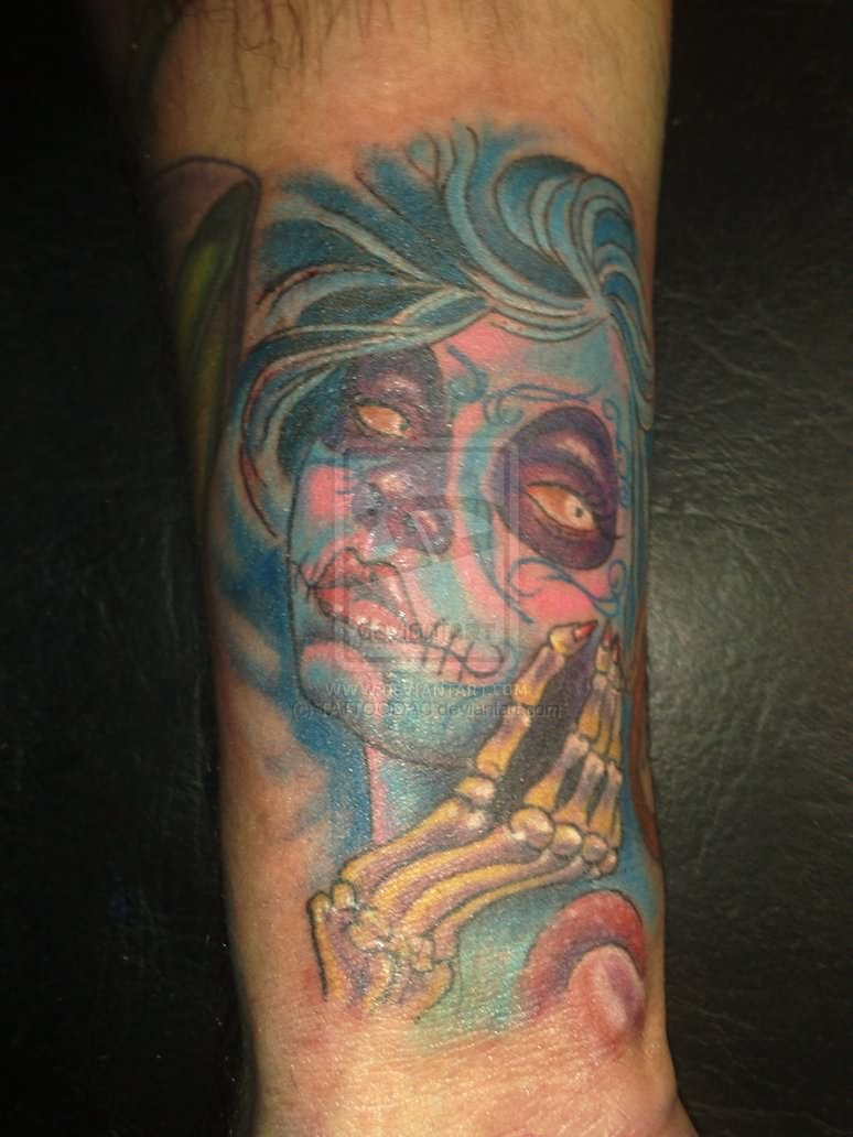 Charming Dia De Los Muertos Tattoo On Arm For Boys