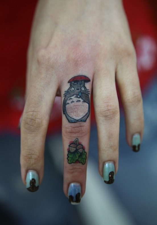 Charming Funny Finger Tattoo Design For Girls