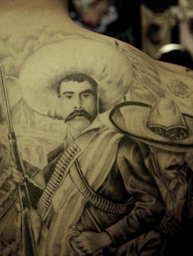 Charming Gangster Tattoo On Back Of Shoulder For Boys