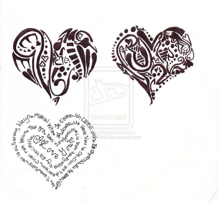 Charming Three Heart Tattoo Designs For Boys
