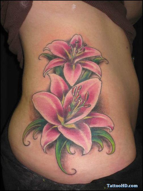 Cool Feminine Flowers Tattoo On Hip For Girls