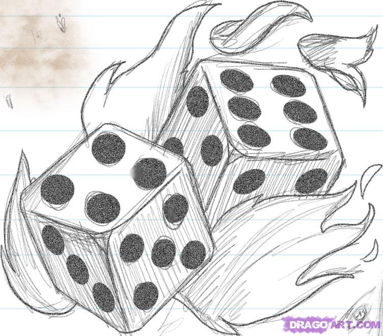 Cool Flaming Dice Tattoo Drawing For Girls